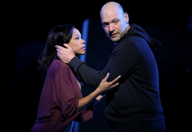 <p>A quiet moment between Nikki M. James as Portia and Corey Stoll as Brutus.</p><br />(© Joan Marcus)