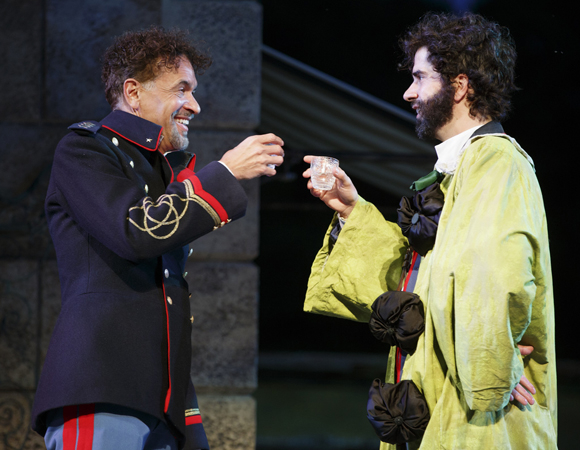 <p>A scene between Don Pedro (Brian Stokes Mitchell) and Benedick (Hamish Linklater).</p><br />(© Joan Marcus)
