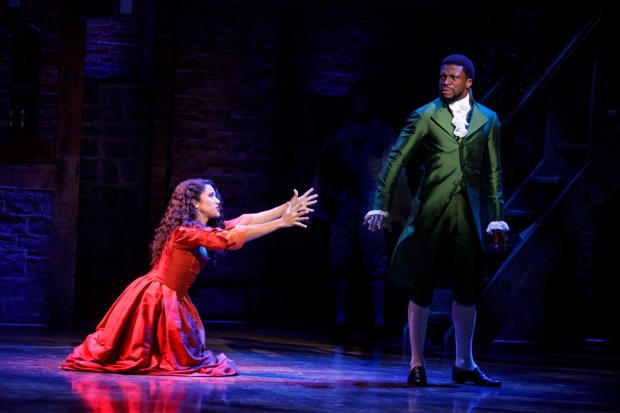<p>A scene between Joanna A. Jones as Maria Reynolds and Michael Luwoye&#39&#x3B;s Hamilton.</p><br />(© Joan Marcus)