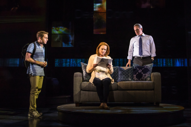 <p>A scene featuring Ben Platt, Jennifer Laura Thompson, and Michael Park. </p><br />(© Matthew Murphy)