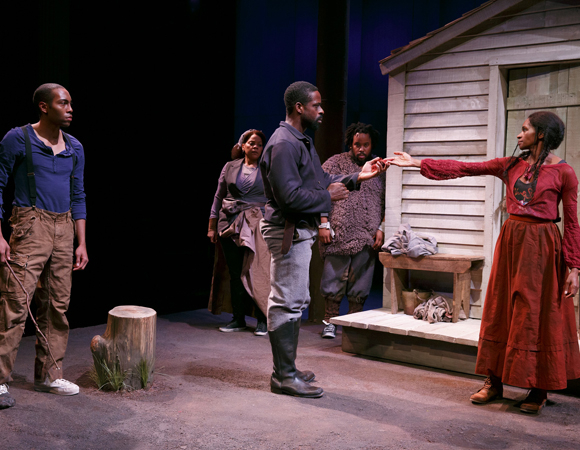 <p>A scene featuring Jeremie Harris, Tonye Patano, Sterling K. Brown, Jacob Ming-Trent, and Jenny Jules.</p><br />(© Joan Marcus)