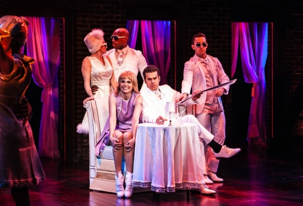 <p>A scene from <em>Sweet Charity</em> featuring Emily Padgett, Donald Jones, Jr., Sutton Foster, Joel Perez, and Cody Williams.</p><br />(© Monique Carboni)