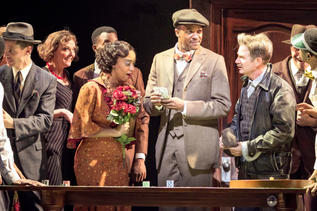 <p>A scene from the Paper Mill Playhouse premiere of <em>The Sting</em>.</p><br />(© Evan Zimmerman)