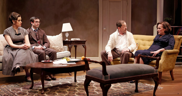 <p>A scene with cast members Melissa Miller, Todd Bartels, Jonathan Hadary, and Denise Lute.</p><br />(© Carol Rosegg)