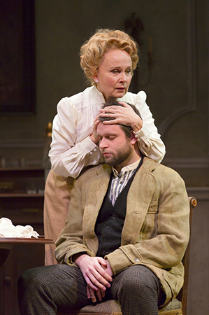 <p>A tender moment between Arkadina (Kate Burton) and Konstantin (Morgan Ritchie).</p><br />(© T Charles Erickson)