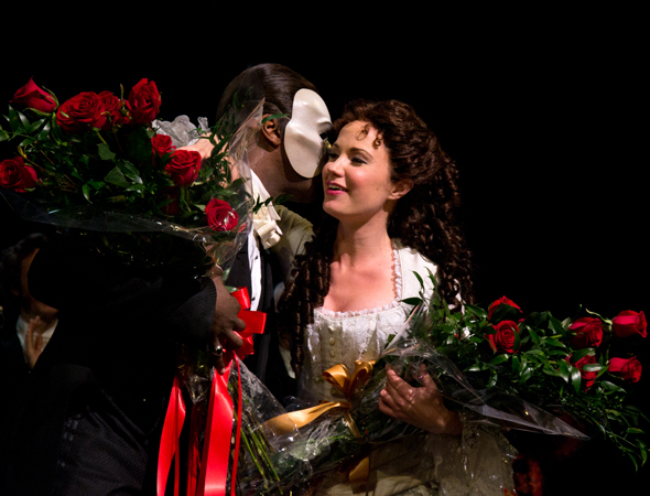 <p>A tender moment between the two <em>Phantom</em> stars.</p><br />(© David Gordon)