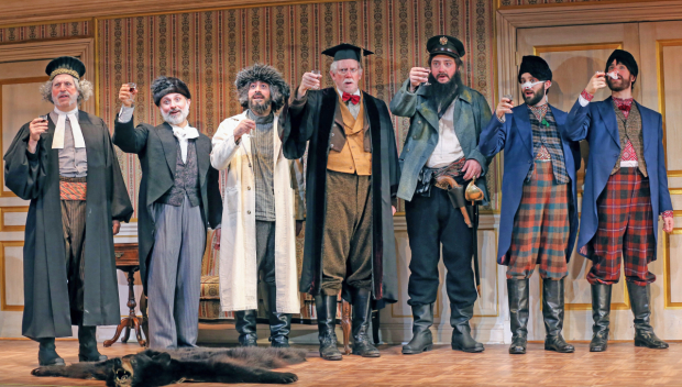<p>A toast from the cast of <em>The Government Inspector</em>.</p><br />(© Carol Rosegg)