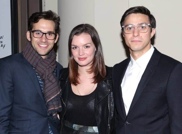 <p>A trio of Broadway favorites — <em>Next to Normal</em> alums Adam Chanler-Berat and Jennifer Damiano, and <em>Significant Other</em> star Gideon Glick — walk the red carpet together.</p><br />(© David Gordon)