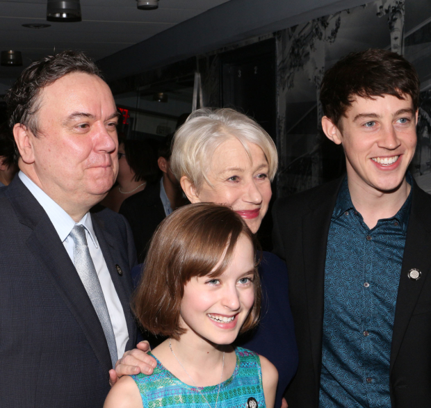 <p>Three nominated Broadway Brits — Richard McCabe, Helen Mirren, and Alex Sharp — show their love for the year&#39&#x3B;s youngest nominee, Sydney Lucas.</p><br />(© David Gordon)