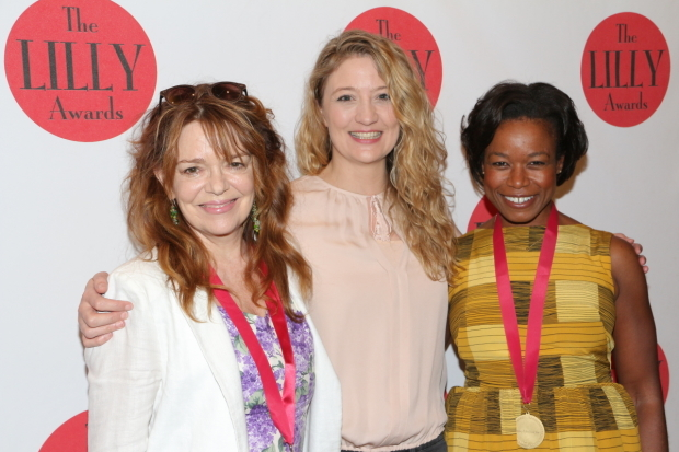 <p>A trio of stage favorites — Deirdre O&#39&#x3B;Connell, Heidi Schreck, and Quincy Tyler Bernstine — share a photo at the 2016 Lilly Awards.</p><br />(© David Gordon)