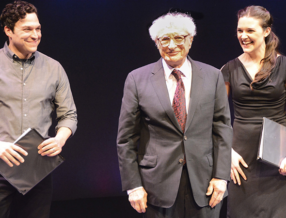 <p>Aaron Serotsky and Kerry Conte look on as Sheldon Harnick takes his curtain call.</p><br />(© Nessie Nankivell)