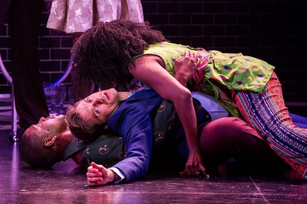<p>Aaron Tveit finds himself sandwiched between Lawrence E. Street (bottom) and Jeannette Bayardelle (top).</p><br />(© Daniel Rader)