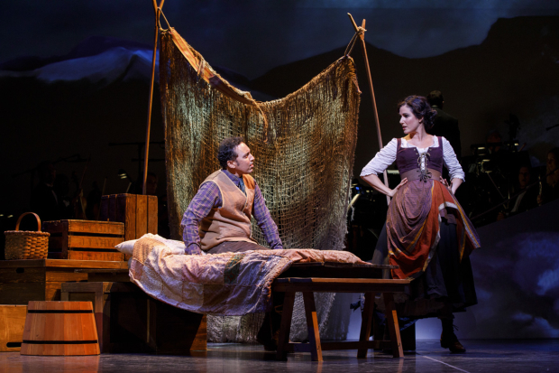 <p>Aasif Mandvi as Jeff Douglas and Stephanie J. Block as Meg Brockie.</p><br />(© Joan Marcus)