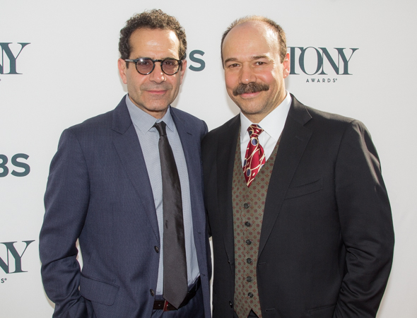 <p><em>Act One</em>&#39&#x3B;s Tony Shalhoub and <em>Cabaret</em>&#39&#x3B;s Danny Burstein enjoy the warm spring weather.</p><br />(© Seth Walters)