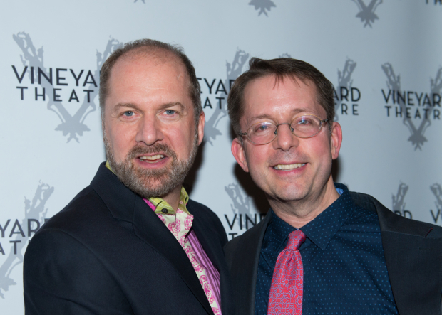 <p>Actor Daniel Jenkins stops for a photo with music supervisor David Loud.</p><br />(© Allison Stock)