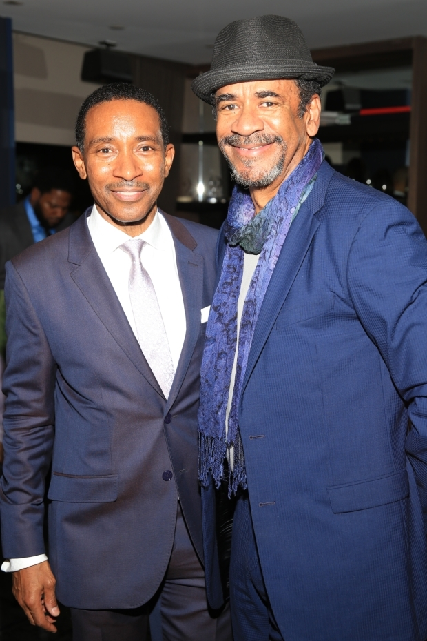 <p>Actor Tim Reid (right) joins Charles Randolph-Wright on opening night of <em>Motown</em>.</p><br />(© Tricia Baron)