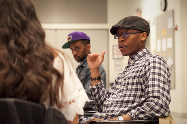 <p>Actors Namir Smallwood (foreground) and Jaime Lincoln Smith (background) on the first day of rehearsal.</p><br />(© Chasi Annexy)