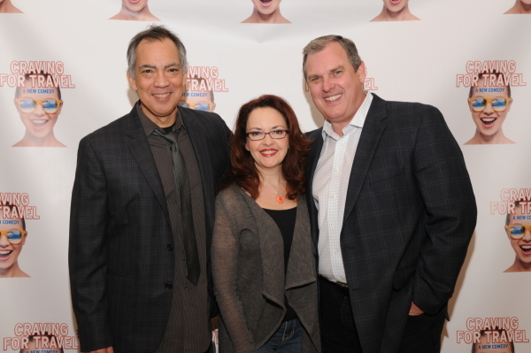 <p>Actors Thom Sesma (Gary) and Michele Ragusa (Joanne) with producer and luxury travel agent Jim Strong (right).</p><br />(© Tyrone Rasheed)