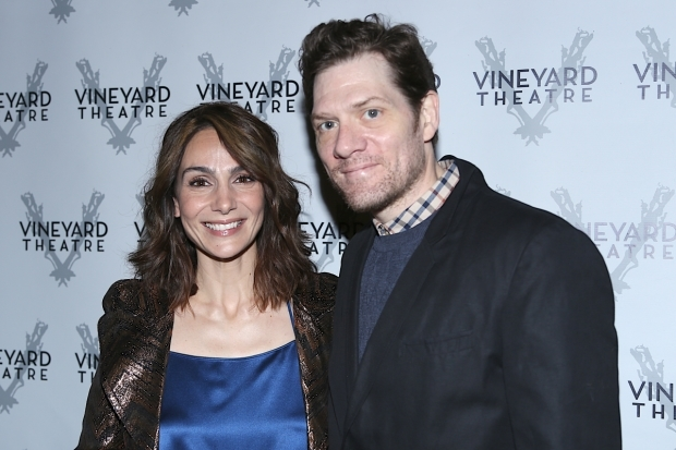 <p>Actress Annie Parisse and playwright Adam Rapp stop for a photo.</p><br />(© Tricia Baron)