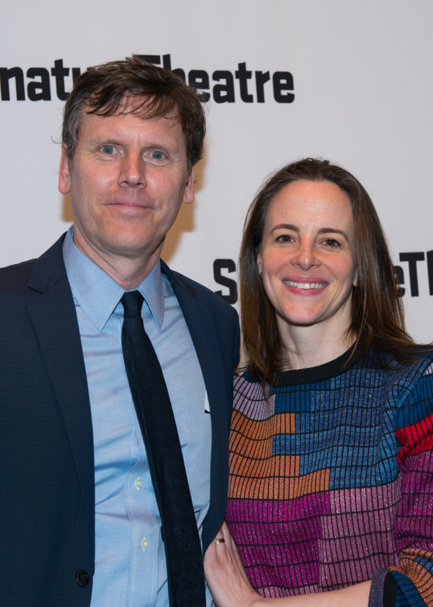 <p>Actress Maria Dizzia (right) showed up in support of husband Will Eno (left).</p><br />(© Allison Stock)