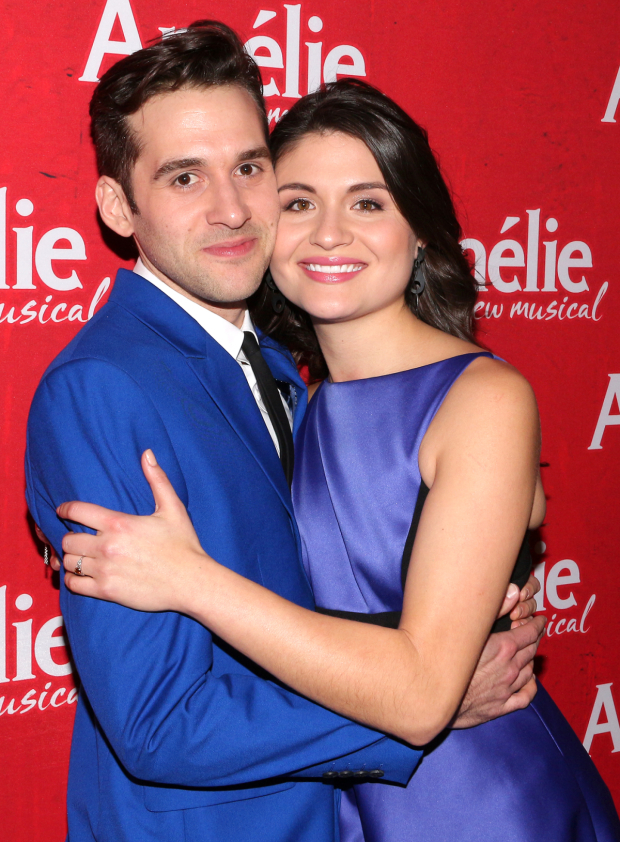 <p>Adam Chanler-Berat and Phillipa Soo toast their opening night.</p><br />(© David Gordon)