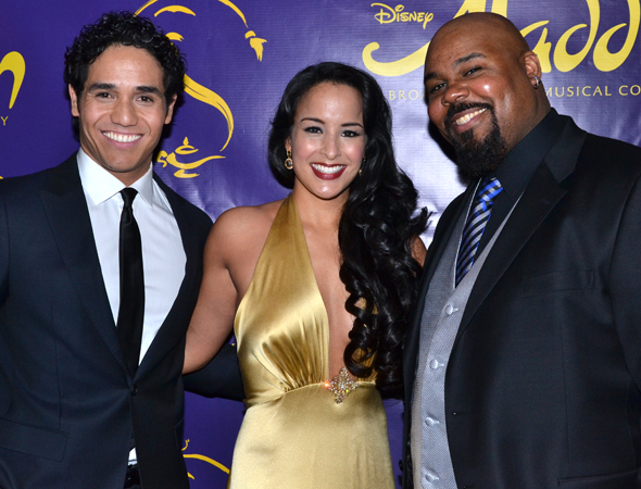 <p>Adam Jacobs, Courtney Reed, and James Monroe Iglehart smile for the cameras at the after-party.</p><br />(© David Gordon)