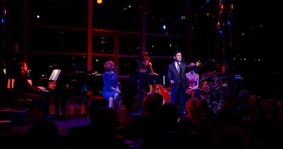 <p>Adam Kantor joins the band onstage for UnsungMusicalsCo.&#39&#x3B;s <em>Unsung Carolyn Leigh</em> on April 5.</p><br />(© Kevin Yatarola)