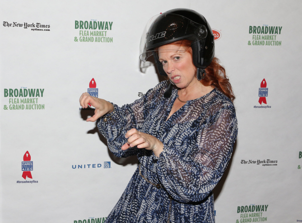 <p>After a long day at the Flea Market, Carolee Carmello gets ready to hop on her Vespa down to her matinee.</p><br />(© David Gordon)