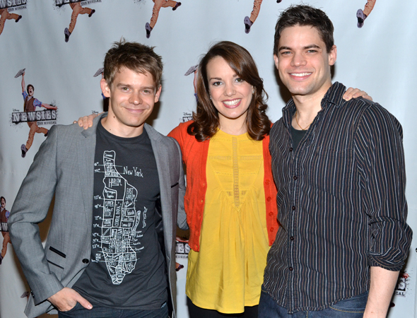 <p>After its acclaimed run at the Paper Mill, <em>Newsies</em> made the leap to the Nederlander Theatre on Broadway. As the cast prepared for the move, Lindsay (center) and her costars Andrew Keenan-Bolger (left) and Jeremy Jordan met the press and posed for photos to discuss the musical.</p><br />(© David Gordon)
