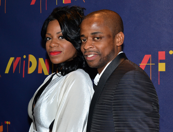<p><em>After Midnight</em> stars Fantasia and Dulé Hill snuggle close together at the after-party.</p><br />(© David Gordon)