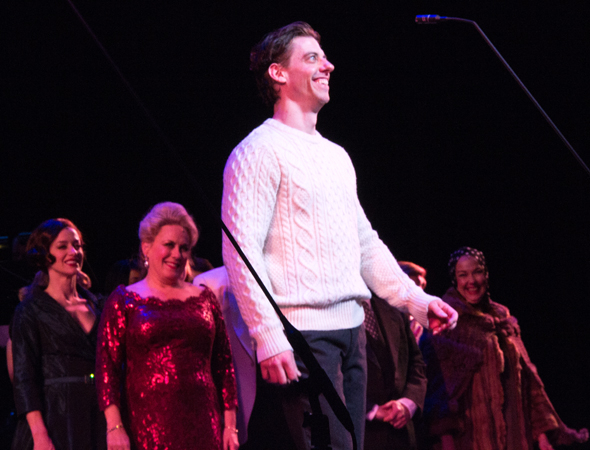 <p>After spending the entire production in a series of outrageous costumes, Christian Borle opts for a white sweater to take his curtain call.</p><br />(© David Gordon)