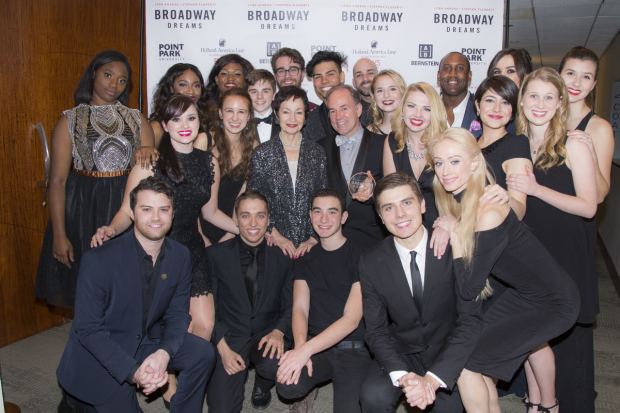 <p>Ahrens and Flaherty (center) pose with Broadway Dreams students from across the world.</p><br />(© Peter Roessler)