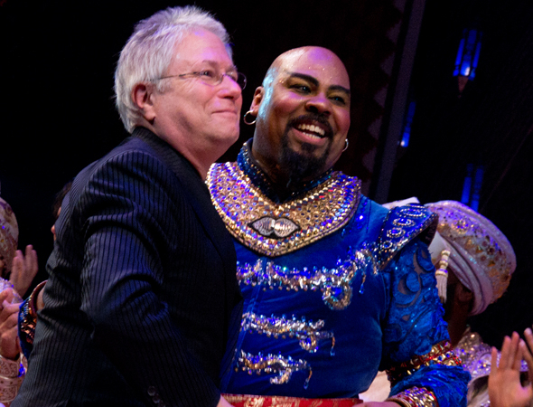 <p>Alan Menken and James Monroe Iglehart hug each other onstage.</p><br />(© David Gordon)