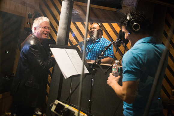 <p>Alan Menken cheers on Adam Jacobs and James Monroe Iglehart.</p><br />(© Matthew Murphy)