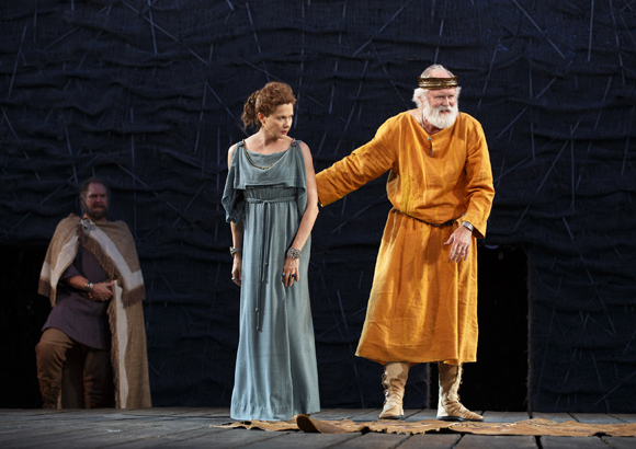 <p>Albany eyes an interaction between Goneril and King Lear.</p><br />(© Joan Marcus)