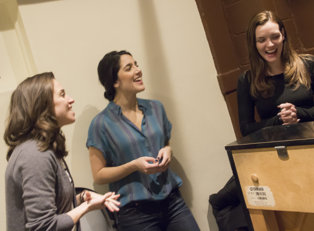 <p>Alex Finke, Samantha Massell, and Jennifer Damiano rehearse around the piano. </p><br />(© David Gordon)
