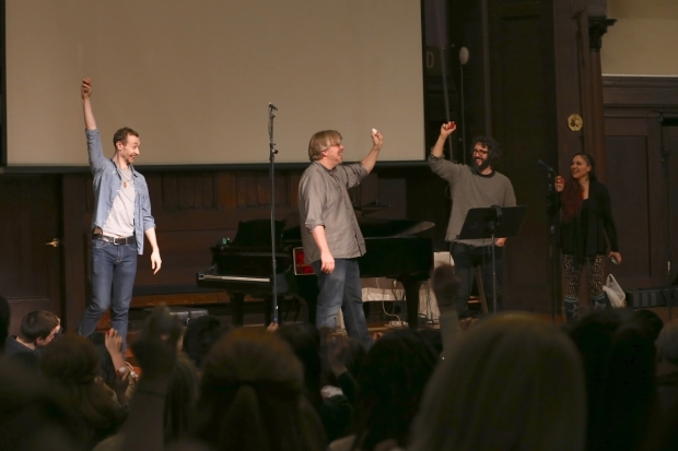 <p>Alex Gibson, Dave Malloy, Josh Groban, and Katrina Yaukey with their egg shakers at the ready.</p><br />(© Tricia Baron)