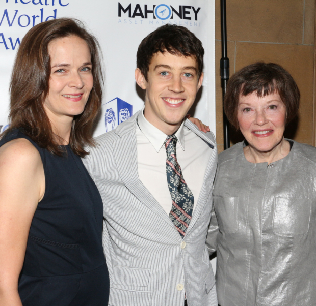 <p>Alex Sharp — recipient for <em>The Curious Incident of the Dog in the Night-Time</em>, seen here with cast members Enid Graham (left) and Helen Carey.</p><br />(© David Gordon)