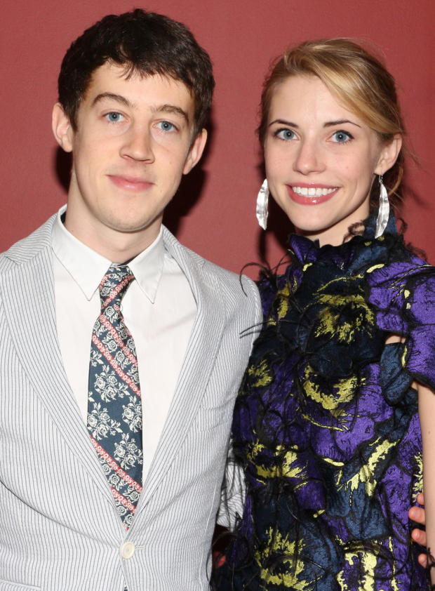 <p>Alex Sharp (with his girlfriend, Wallis Currie-Wood) — Outstanding Actor in a Play for <em>The Curious Incident of the Dog in the Night-Time</em></p><br />(© David Gordon)