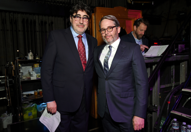 <p>Alfred Molina and Matthew Broderick stop backstage for a photo.</p><br />(© Michael Kovac)