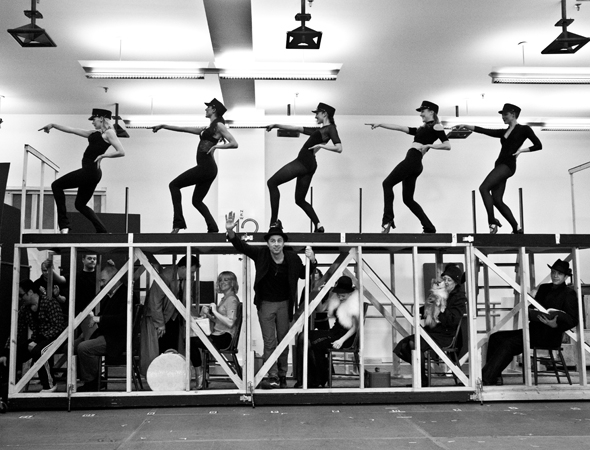 <p>All aboard! The cast of <em>Bullets Over Broadway</em> gets on the train to Boston as they perform &quot&#x3B;Runnin&#39&#x3B; Wild.&quot&#x3B;</p><br />(© David Gordon)