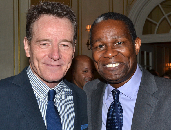 <p><em>All the Way</em> nominee Bryan Cranston with <em>Satchmo at the Waldorf</em> nominee John Douglas Thompson.</p><br />(© David Gordon)