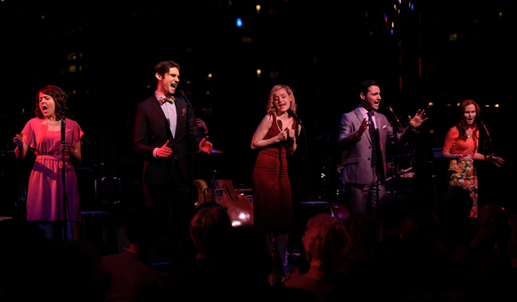 <p>Alli Mauzey, Drew Gehling, Erin Davie, Max von Essen, and Autumn Hurlbert perform together on the Stanley H. Caplan Penthouse stage.</p><br />(© Kevin Yatarola)