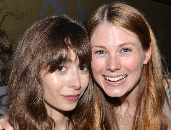<p>Allison Case (right) poses with opening-night guest Cristin Milioti.</p><br />(© David Gordon)