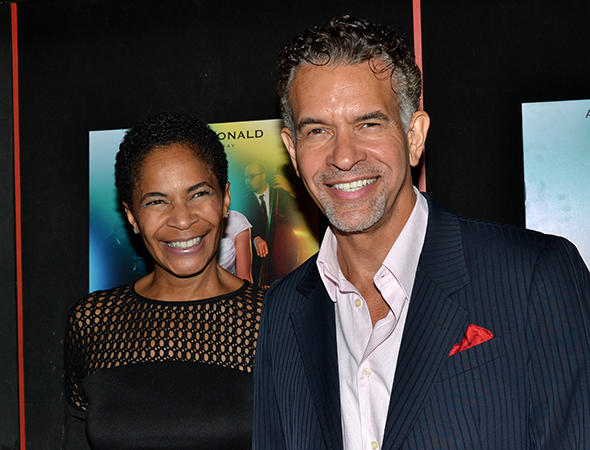 <p>Allyson Tucker and Brian Stokes Mitchell are excited to cheer on their pal Audra on her opening night.</p><br />(© David Gordon)