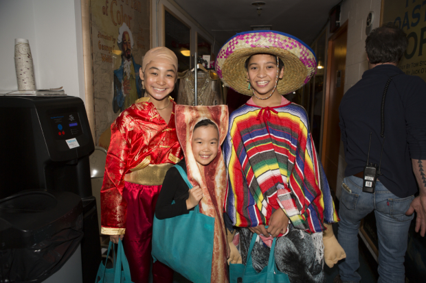 <p>Amaya Braganza, Christie Kim, and Bonale Fambrini were among the <em>King and I</em> kids who went trick-or-treating in the spooky tunnels at Lincoln Center Theater.</p><br />(&copy&#x3B; Jeremy Daniel)