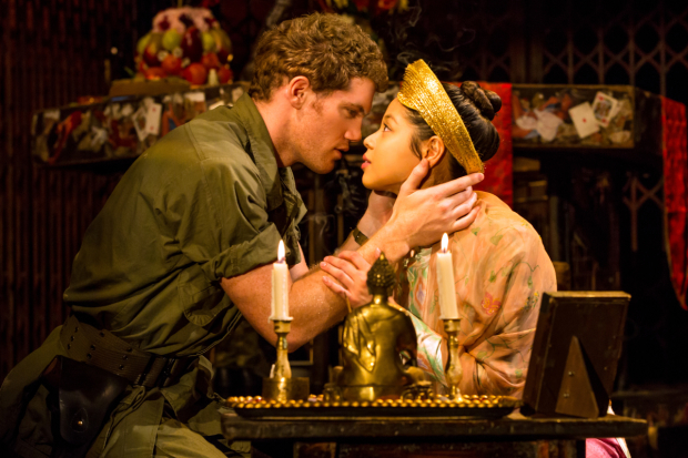 <p>An intimate moment between Alistair Brammer and Eva Noblezada.</p><br />(© Matthew Murphy)