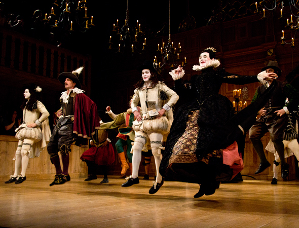 <p>An opening-night jig from the cast of <em>Twelfth Night</em>.</p><br />(© David Gordon)