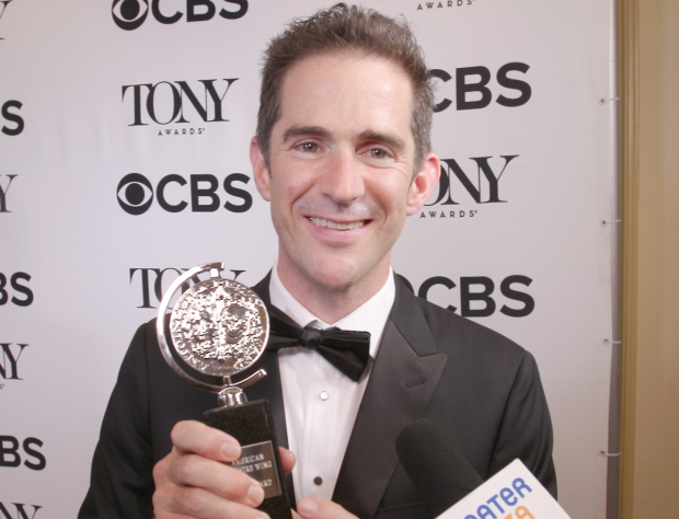 <p>&quot&#x3B;Bandstand&quot&#x3B;&#39&#x3B;s Andy Blankenbuehler shows off his Tony Award for Best Choreography.</p><br />(© David Gordon)