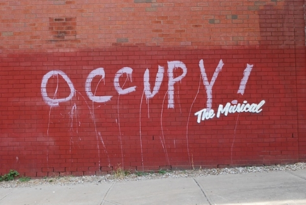 <p>&quot&#x3B;Occupy! The Musical&quot&#x3B; was spotted in Williamsburg.</p><br />(© Banksy)